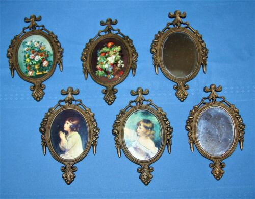Lot of 6 Vintage Ornate Metal Picture & Mirror Frames Italy Oval Image