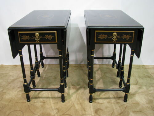 """*PAIR* Drexel Heritage """"18th Century"""" Line Drop-Leaf Chinoiserie End Tables"""