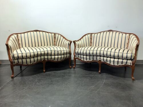 Vintage French Style Carved Wooden Frame Upholstered Settees - Pair