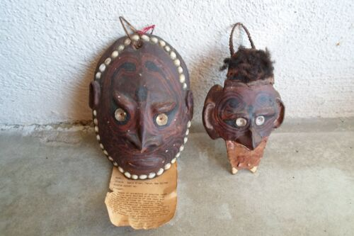 2 Papua New Guinea Turtle Shell Mask Sepik River