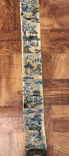Rare Antique Chinese Silk Gauze Single Sleeve Bands Signed Embroidery