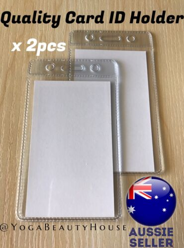 2pcs* QUALITY Vertical Clear Card ID Holder Sleeve Office Name Tag Pass lanyard