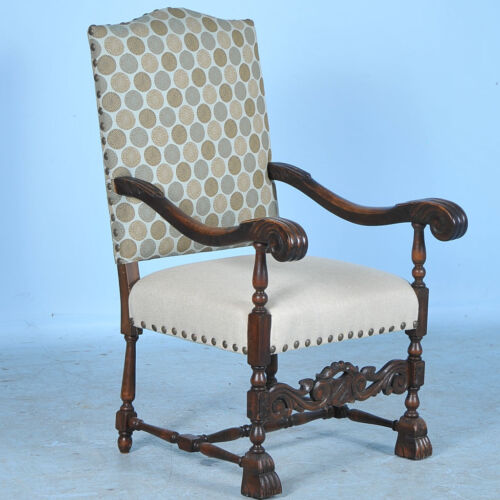 19th Century Antique Baroque Carved Armchair w/New Contemporary UpholsterY