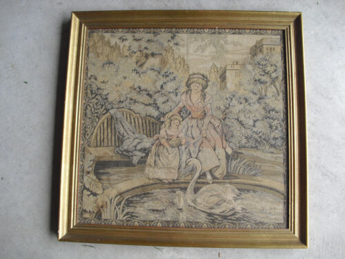 Antique Tapestry Mother with Girl and Swans Professionally Framed LOOK