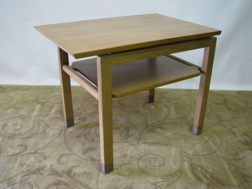 Scarce Mid Century Ed Wormley for Dunbar Cantilevered End Table; Leather Legs