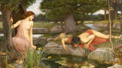 John William Waterhouse Echo and Narcissus Giclee Canvas Print