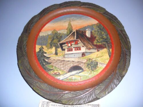 Vinage Hand Carved and Painted Black Forest Germany Cabin Scene Wall Hanging
