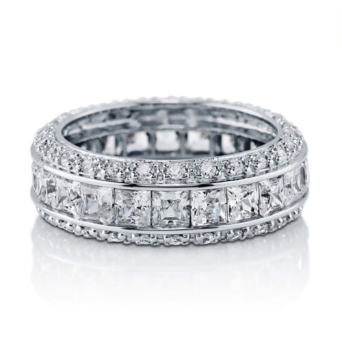 Sterling Silver 925 Women's CZ Princess Cut Pave Eternity Wedding Band Ring 4-10