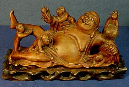 ANTIQUE CHINESE CARVED WOOD RECINING LAUGHING BUDDHA STATUE w/ CLIMBING CHILDREN