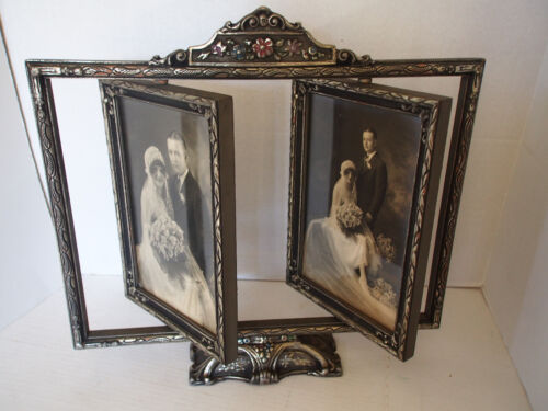 """15"""" Antique Deco Carved Wood Silver Hand Paint Swivel Swing Double Picture Frame"""