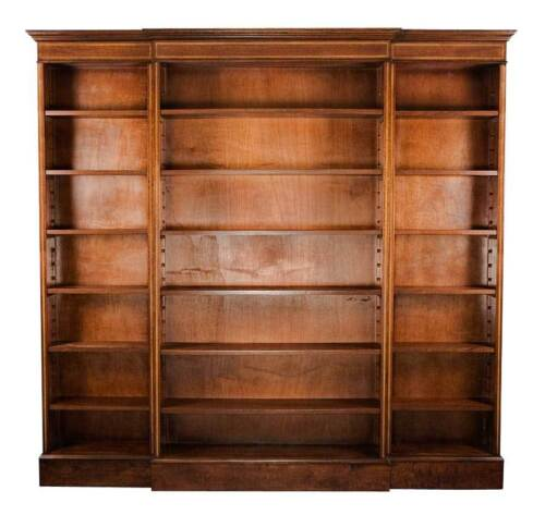 Tall Antique Style Triple Breakfront Open Office Bookcase Bookshelves Adjustable
