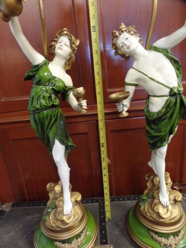 """Large Pair of L & F Moreau Metal Spelter Lamps Man & Woman Pouring Wine 33"""""""