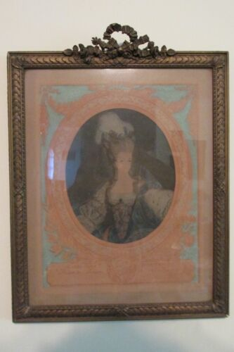 "Vintage Marie Antoinette Print 16x20"" Gesso & Wood Frame French Crest Torches"