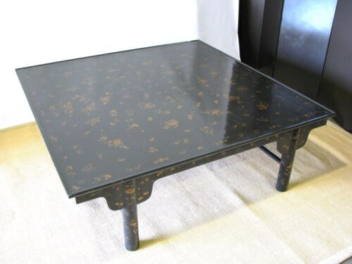 """Baker Furn. Stunning 60"""" Square Asian-Style Black Lacquer & Gilt Coffee Table"""