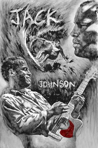 JACK JOHNSON Painting Artwork Stretched Canvas Music ART Giclee
