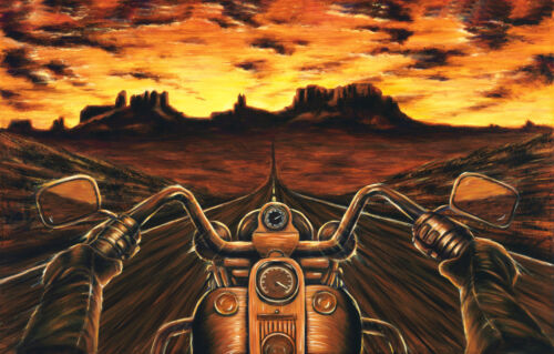 Harley Davidson Motorcycle Painting Motorcycle Artwork Stretched Canvas Print