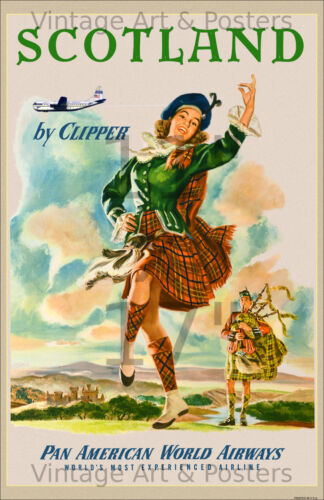 Pan Am - Scotland 11x17 inch Vintage Airline Travel Poster