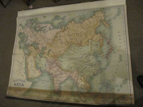 THE EXCELSIOR MAP OF ASIA CA 1900 HAMMETT BOSTON ROLL DOWN ANTIQUE MAP 47X 61''