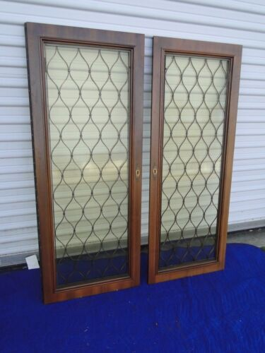 Pair of Doors with Amber Glass and Grates