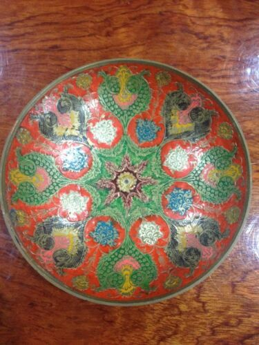 Antique Bowl Plate Tray Enamel on Copper India Pattern Chinese Canton Ware
