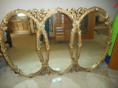 "Large Vintage Mid Century Tri-Oval Mirror 65'' By 43"" By 2"" Hollywood Regency"