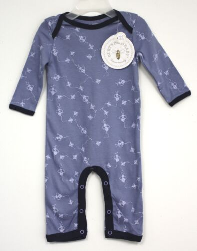 Burts Bees Baby Organic Cotton Outfit long sleeve Blue infant Bees Allover
