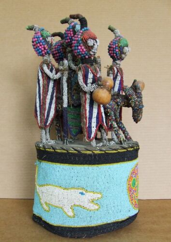 African Yoruba Beaded Crown / Alter Piece. Horse, Rider and Four Attendants.