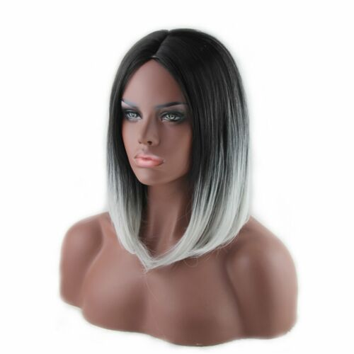 35CM Women Short Grey Wig Heat Resistant Straight Full Black Ombre Hair Cosplay