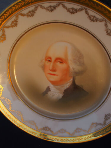 1900's Sevres Bavaria George Washington Hand Painted Portrait Gold Cabinet Plate