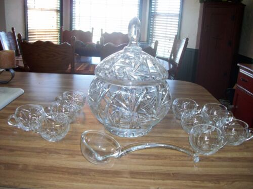 ABP American Brilliant Period Hand Cut Crystal Pinwheel Star Covered Punch Bowl