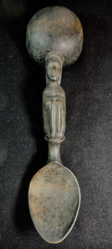 ANTIQUE PHILIPPINE IFUGAO RITUAL SHAMANS HAND CARVED WOOD LADLE SPOON HUMAN FIG