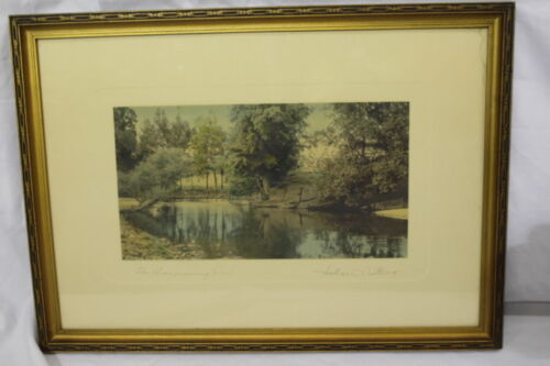 """Vintage WALLACE NUTTING Hand Colored Lithograph Print THE SWIMMING POOL 13""""x7"""""""