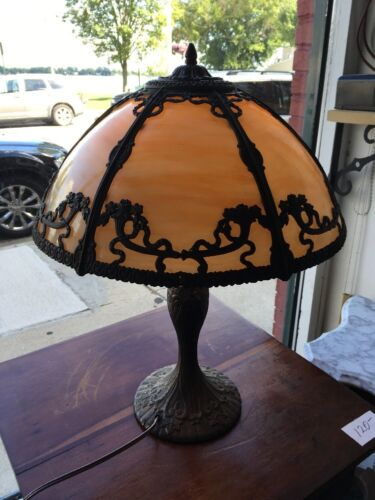 Antique 6 Panel Slag Glass Table Lamp