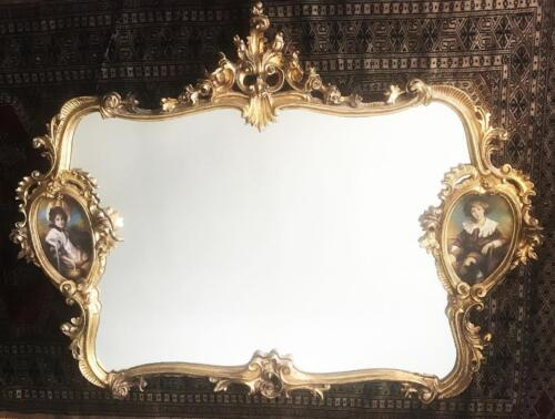 Heavy Carved Gilded Gold Leaf French Rococo Mirror W Husband & Wife Oil Painting