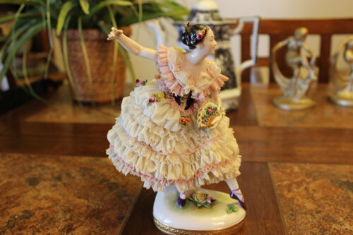 "Antique 8 3/4"" tall Volkstedt Dresden Porcelain Lace Ballerina Figurine HM sign"