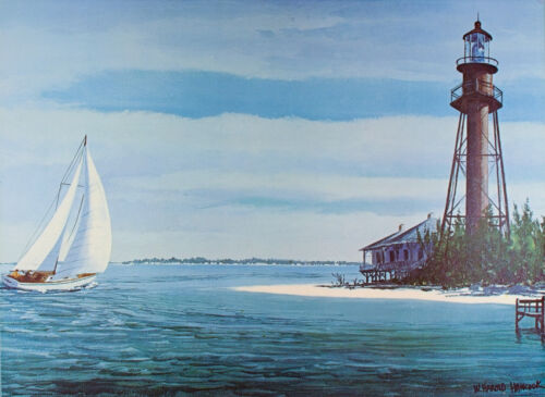 Vintage SANIBEL ISLAND Art Print CAPTIVA Florida LIGHTHOUSE Poster SAILING Mint
