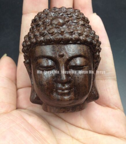 WOOD Collectable Chinese folk hand-carved Buddha head ornament statue P201
