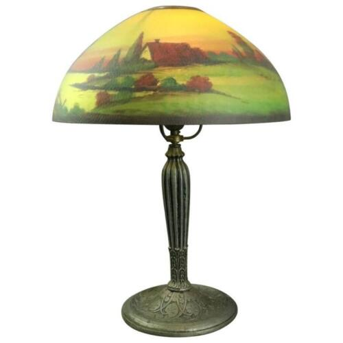 Antique Reverse Painted Jefferson Table Lamp, Early 20th Century