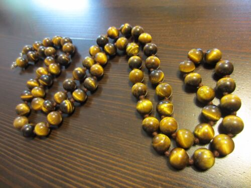 """ANTIQUE CHINESE? CARVED TIGER's EYE BEADED KNOTTED NECKLACE SILVER CLASP 33""""-B"""