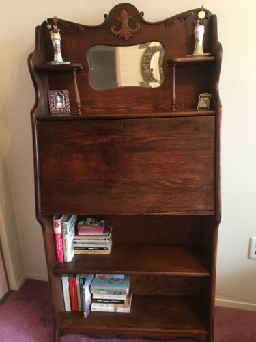 Vintage Victorian Oak Slant Drop Front Secretary Desk /Bookcase w/ Mirror