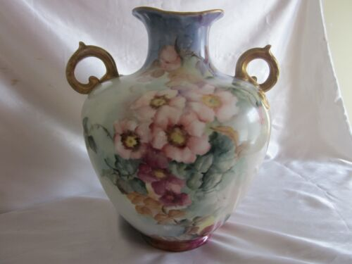 Antique Austria Hand Painted Wild Flowers Nouveau Vase Signed