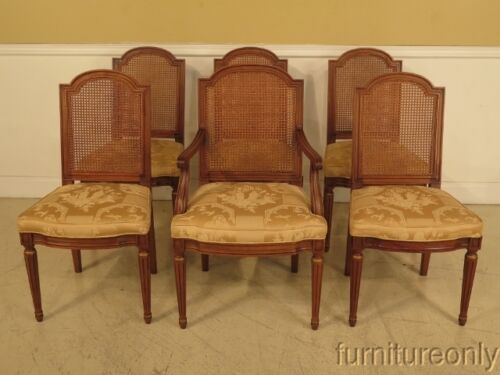 LF41101: Set Of 6 HENREDON French Louis XVI Style Cane  Dining Room Chairs