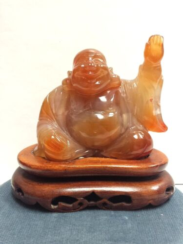 Antique Chinese Hand Carved Jade Agate Buddha Statue