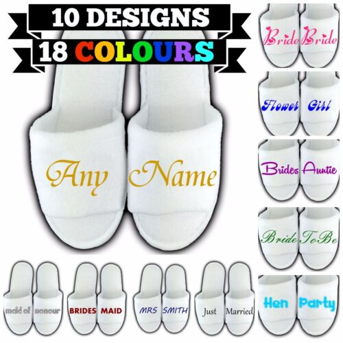 PERSONALISED SPA SLIPPERS OPEN TOE ANY NAME MESSAGE GIFT WEDDING GUEST NOVELTY