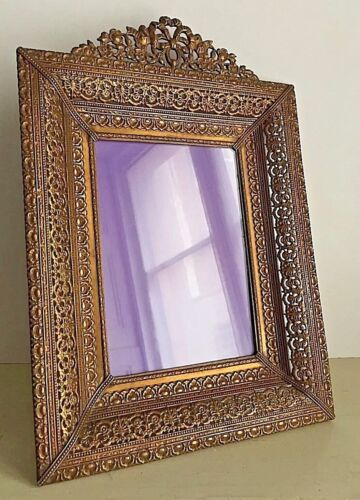 Vintage Antique 1910's-20's Frame Brass Ornate Filigree Bow Neoclassical