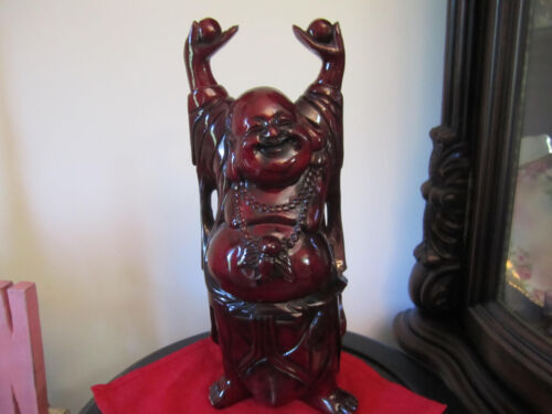 "15""Carved Wooden Laughing Happy Buddha. Amazing detail!!!!"
