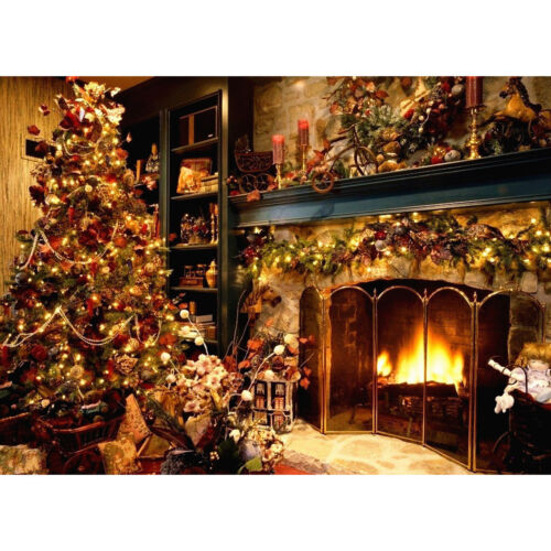 7x5FT Vinyl Christmas Tree Fireplace Photography Backdrop Background Studio Prop