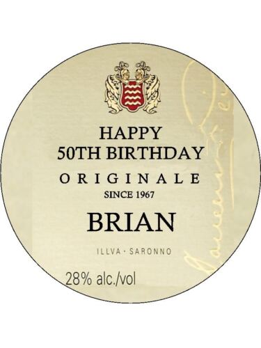 """PERSONALISED DISARONNO NOVELTY EDIBLE BIRTHDAY CAKE TOPPER A4 SIZE 10/""""X 7.5/"""""""