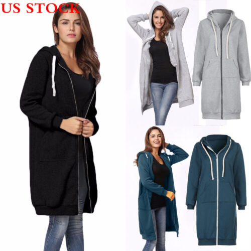 Ladies Women's Warm Long Coat Zipper Hooded Jacket Slim Winter Parka Outwear US