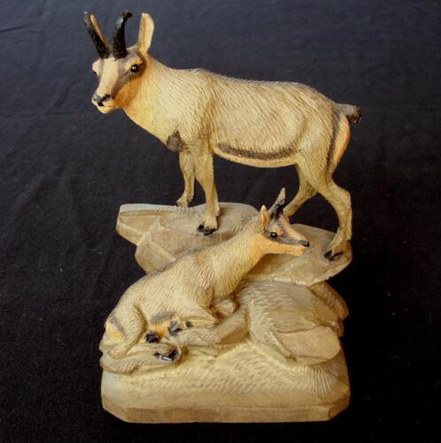 Antique C19th Black Forest Wood Carving Sculpture Swiss Chamois Glass Eyes Old